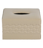 Belmun Smooth Cheques Embossed Square Beige Leatherette Tissue Box