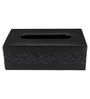 Belmun Textured 3 Petal Floral Embossed Rectangle Black Leatherette Tissue Box