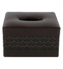 Belmun Textured Cheques Embossed Square Brown Leatherette Tissue Box