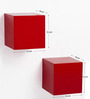 Bluewud Red MDF & Duco Colorcube Wall Shelf Set