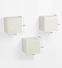 Bluewud White MDF & Duco Colorcube Wall Shelf - Set of 3