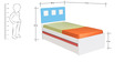 Boston Single-Size Bed with Pull-Out in Blue & White Colour by Alex Daisy