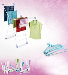 Bonita Wonderfold X-Wing Clothes Drying Stand + Bonita Flora Clothes Clip-Set Of 8 Pcs. + Plastic Hanger Set Of 6