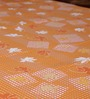 Bombay Dyeing Orange Poly Cotton Floral Double Bed Sheet (with Pillow Cover) - Set of 3