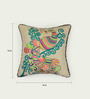 Bombay Mill Beige Cotton 16 x 16 Inch Peacock Embroidery Cushion Cover
