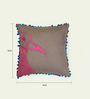 Bombay Mill Grey & Magenta Cotton 16 x 16 Inch Bird Embroidery Cushion Cover