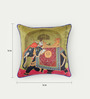 Bombay Mill Multicolour Matt Satin 16 x 16 Inch Mughal Style Print & Embroidery Cushion Cover