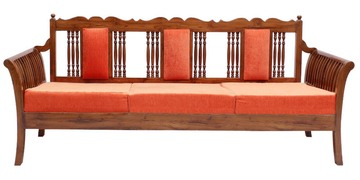 Brasenose Teak Wood Three Seater Sofa In Natural Teak Finish By Finesse