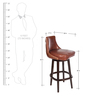 Brown Color Bar Chair in Genuine Leather by ThreeSixtyDegree