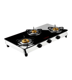 Butterfly Reflection 3 Burner Auto Ignition Glass Cooktop