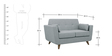 Castello Two Seater Sofa in Gravel Grey Colour by CasaCraft