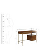 Cameron Study Table in Brown & Golden Colour by Asian Arts