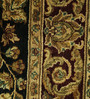 Carpet Overseas Black & Red Wool 84 x 62 Inch Persian Design Hand Knotted Area Rug