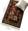 Carpet Overseas Black Wool 37 x 25 Inch Kilim Design Hand Knotted Area Rug