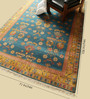 Carpet Overseas Blue & Gold Wool 106 x 71 Inch Kilim Design Hand Knotted Area Rug