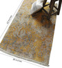 Carpet Overseas Gold & Grey Viscose 62 x 38 Inch Modern Design Hand Knotted Area Rug