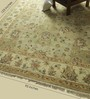 Carpet Overseas Green & Beige Wool 123 x 95 Inch Persian Design Hand Knotted Area Rug
