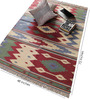 Carpet Overseas Red & Green Cotton 72 x 48 Inch Geometrical Design Flatweave Area Rug