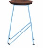 Mirai Bar Stool in Premium Acacia Finish with Metal with Wooden Seat by Bohemiana