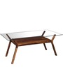 Kennewick Six Seater Dining Set with Glass Top in Provincial Teak Finish by Woodsworth