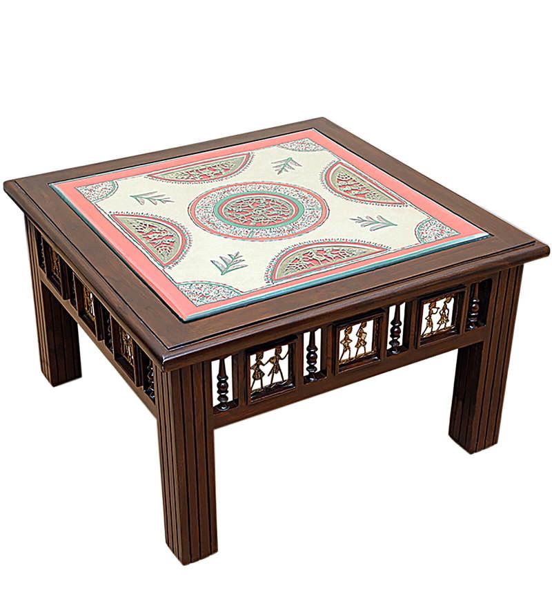 Buy Exclusivelane Teak Wood Coffee Centre Table In Walnut Finish Online Indian Ethnic