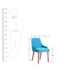 Celano Arm Chair (Set of 2) in Blue Colour & Cocoa Legs by CasaCraft