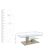 Center Table with Glass Top & Shelf in Oak Finish by Parin