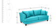 Chasin Three Seater Sofa in Aqua Blue Colour by Furny