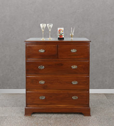Chest Of Five Drawers In Natural Brown Wood Polish By BIC