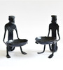 Chinhhari Arts Black Wrought Iron Tribal Candle Stand - Set of 2