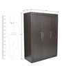 Chocolate Three Door Wardrobe in Wenge Colour by Crystal Furnitech