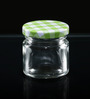 Circleware Cylindrical 60 ML Small Jar Clear with Color Checked Lid - Set Of 6