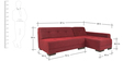 Clarence LHS Sofa in Maroon Color by Furny