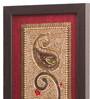 Clasicraft Maroon Beads on Raw Silk 6 x 0.5 x 26 Inch Framed Panel Wall Art