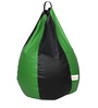 Classic Bean Bag with Beans in Black and Neon Green Colour by Sattva