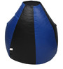 Classic Bean Bag with Beans in Black and Royal Blue Colour by Sattva