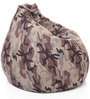 Classic Cotton Canvas Camouflage Design Bean Bag XL Size with Beans by Style Homez