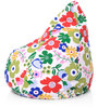 Classic Cotton Canvas Floral Design Bean Bag XL Size with Beans by Style Homez