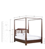 Classic King Size Four Poster Bed with Latticework Headboard in Brown Colour by Afydecor