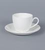 Clay Craft Cream Plain Bone China 150 ML Cup & Saucer - Set of 6