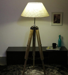 Cocovey Off White Cotton Floor Tripod Lamp - 1579634