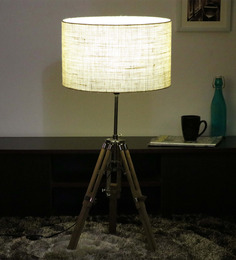 Cocovey Off White Khadi Floor Tripod Lamp - 1579640