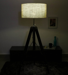 Cocovey Yellow Cotton Floor Tripod Lamp