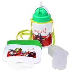 Combo Set Of Lunch Box And Sipper Water Bottle In Green Colour By Imagica