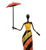 Cocovey Multicolour Metal Single African Lady with Umbrella Figurine