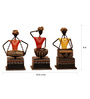 Cocovey Multicolour Metal Sitting Musicians Figurine - Set of 3