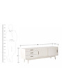 Connor Mid Century Sliding Door Entertainment Unit in White Colour by Asian Arts