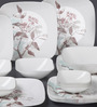 Corelle Square Round Livingware Twilight Grove Vitrelle Glass Dinner Set - Set of 21