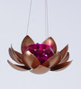 Courtyard Gold Iron Hanging Tea Light Holder with Purple Glass