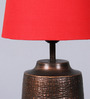 Courtyard Sutra Copper Antique Table Lamp with Red Shade